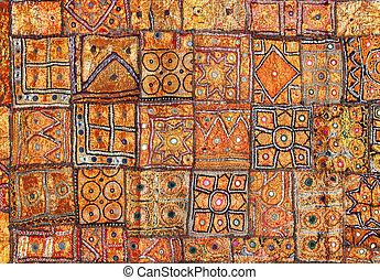 Índia, tecido, fundo, patchwork