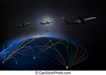air plane flying over earth space by low key light