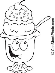 Cartoon ice cream sundae - Black and white illustration of...