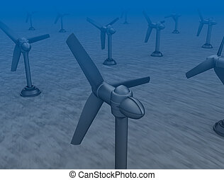 Tidal wave turbines on the bottom of the sea