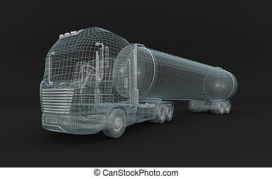 Semitransparent fuel tanket truck.