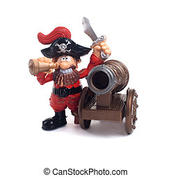 A pirate with a gun on a white background
