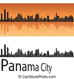 Panama City skyline in orange background in editable vector...