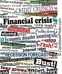 Financial crisis headlines - Background design of newspaper...