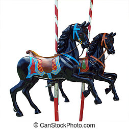 Two Black Merry-Go-Round Horses isolated with clipping path