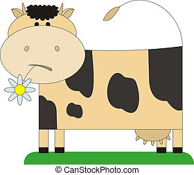 Cow and a flower 1 - The cow costs on a meadow In a mouth at...
