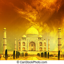 Taj Mahal Sunset, India  - Taj Mahal Sunset, India