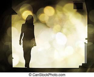 Street walking woman