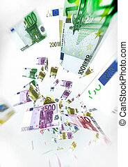 Euro Bills Fly on air - Money Concept Illustration on white...