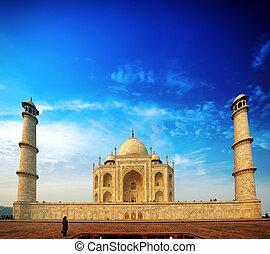 Palace in India Tajmahal. Sunset view of Taj Mahal