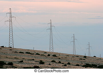 Power lines and array of electric pylons