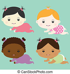 Baby girls - Vector illustration of baby girls eps 10