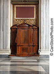 Confession booth in Catholic Church in Rome