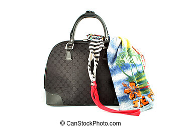 weekend getaway bag - small suitcase with bathing suit and...