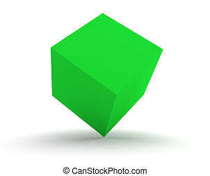 3d Green Cube Isolated on the White