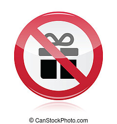 No presents red warning signs - vec - Do not give gifts...