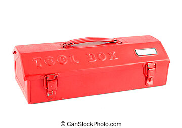 red tool box on a white background