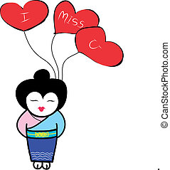 japanese girl holding heart shaped balloons