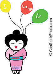 japanese girl holding three balloons