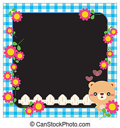Childrens photo framework - cartoon bear and flowers eps 10...