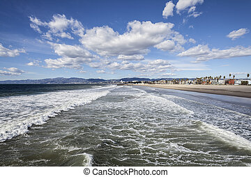 Venice Beach Winter Surf - Clear winter sky and windy surf...