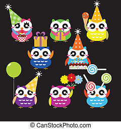 Vector Set of Party Owls