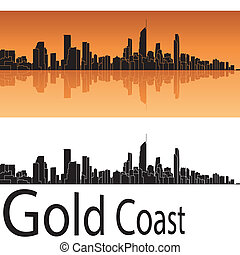 Gold Coast skyline in orange background in editable vector...