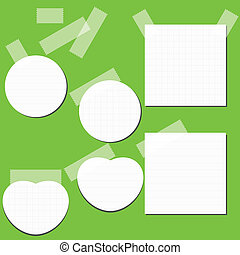 Set of paper stickers with tape