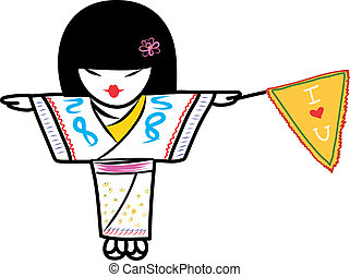 Japanese girl wearing kimonos and holding yellow flag