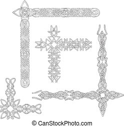 Celtic decorative knot corners. Black and white vector...