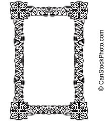 Celtic decorative knot frame. Black and white vector...