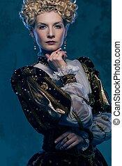 Haughty queen in royal dress