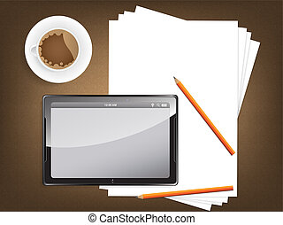 Desk concept with a blank paper and a modern tablet - Desk...