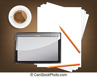 escritorio, concepto, blanco, papel, moderno, tableta