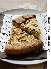 Zucchini and onion tart