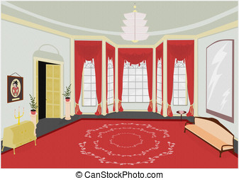 Retro room background. - Background of palatial room in...