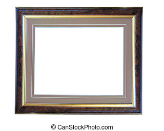 Empty picture gold wooden frame with a decorative pattern
