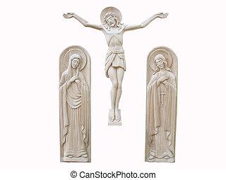 madeira, ortodoxo, religião, baixo-relevo, isolado,...