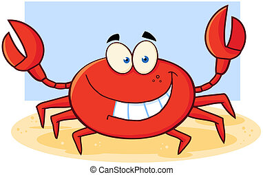 Crab Cartoon Mascot Character - Happy Crab Cartoon Mascot...