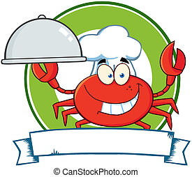Crab Chef Cartoon Mascot Logo - Happy Crab Chef Cartoon...