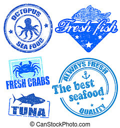 Set of sea food grunge rubber stamps