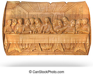 wooden Last Dinner religion bas-relief isolated over white...