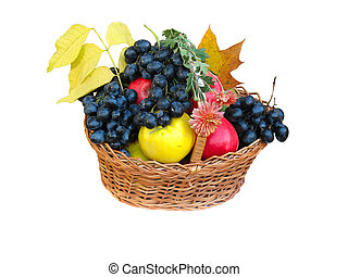wooden basket with autumn harvest fruit vegetables flowers and leaves
