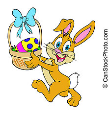 Easter Bunny With Basket - Hand drawn cartoon Easter Bunny...