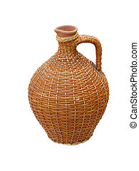 terracotta clay vase with wooden protection isolated over white background