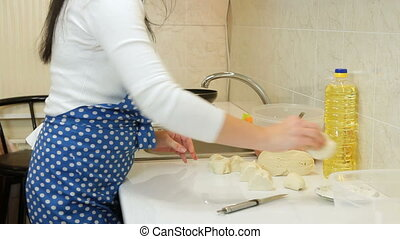 Cooking Ingredients For Meat Pasty - Female Hands Cooking...