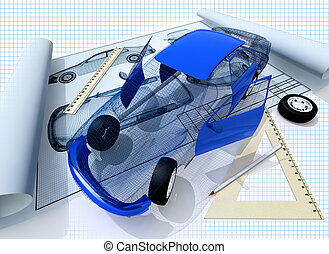 Project - 3d model of the car and blueprint