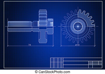 Blueprint - Close-up of blueprint background with gears