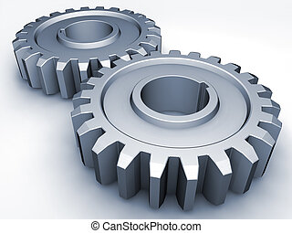 Gears - Two gears on a white background