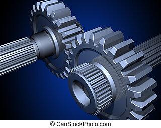 Gears - Two gears on a dark blue background